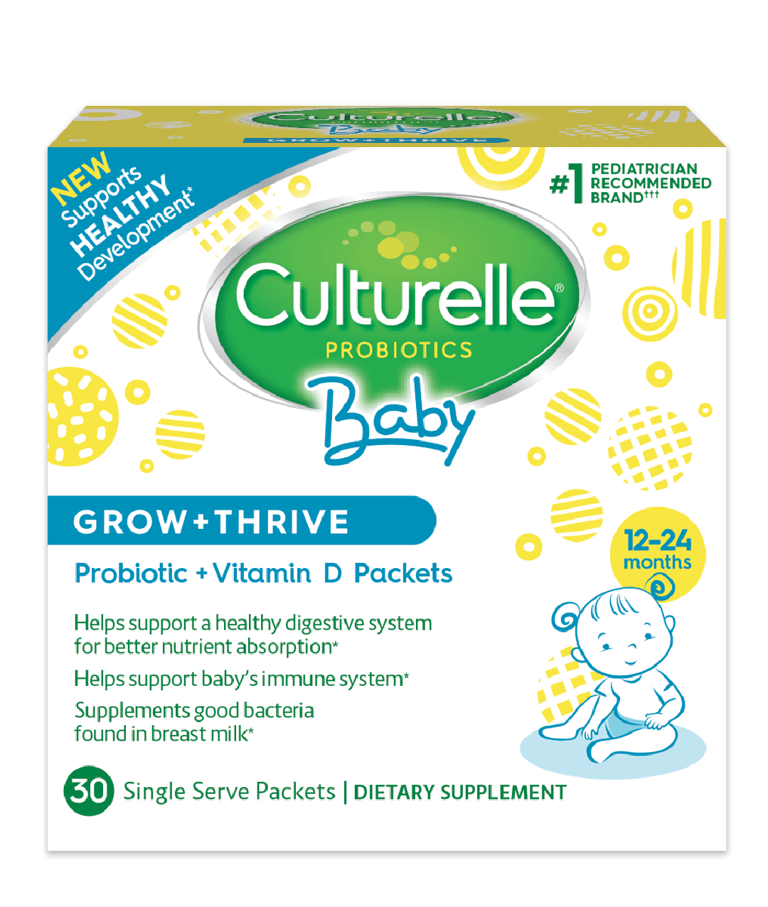 Try Baby Grow + Thrive, a daily probiotic supplement that delivers recommended amount of Vitamin D (the American Academy of Pediatrics recommends infants supplement with IU (10mcg) of vitamin D), to help support baby's healthy development.* Culturelle formulates probiotic supplements specifically for babies months, babies and toddlers months, and kids 1 year and armychief.mls: