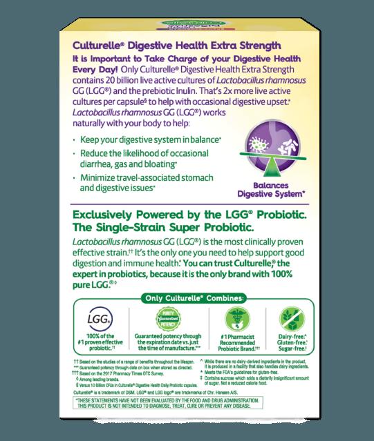 Back of Culturelle® Extra Strength Probiotics Box