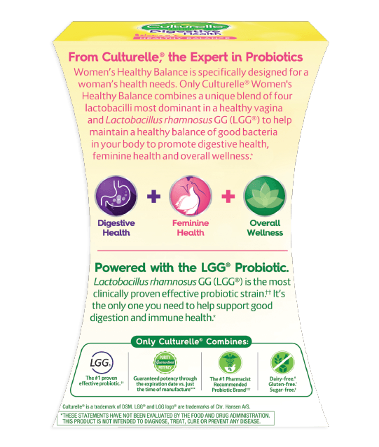Back of pink and green probiotic product box