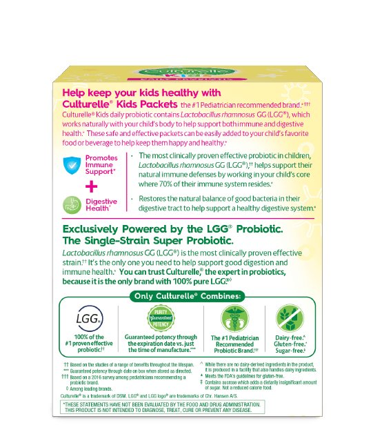 Back of Culturelle Probiotics Kids Daily Packets Box