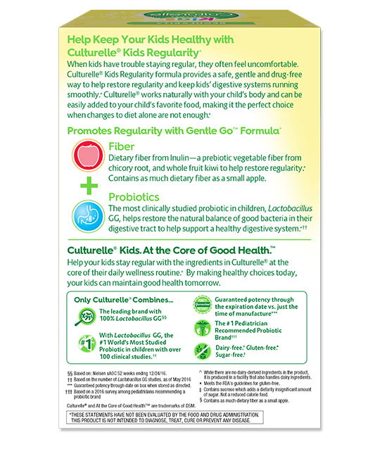 Back of Culturelle® Kids Regularity Box