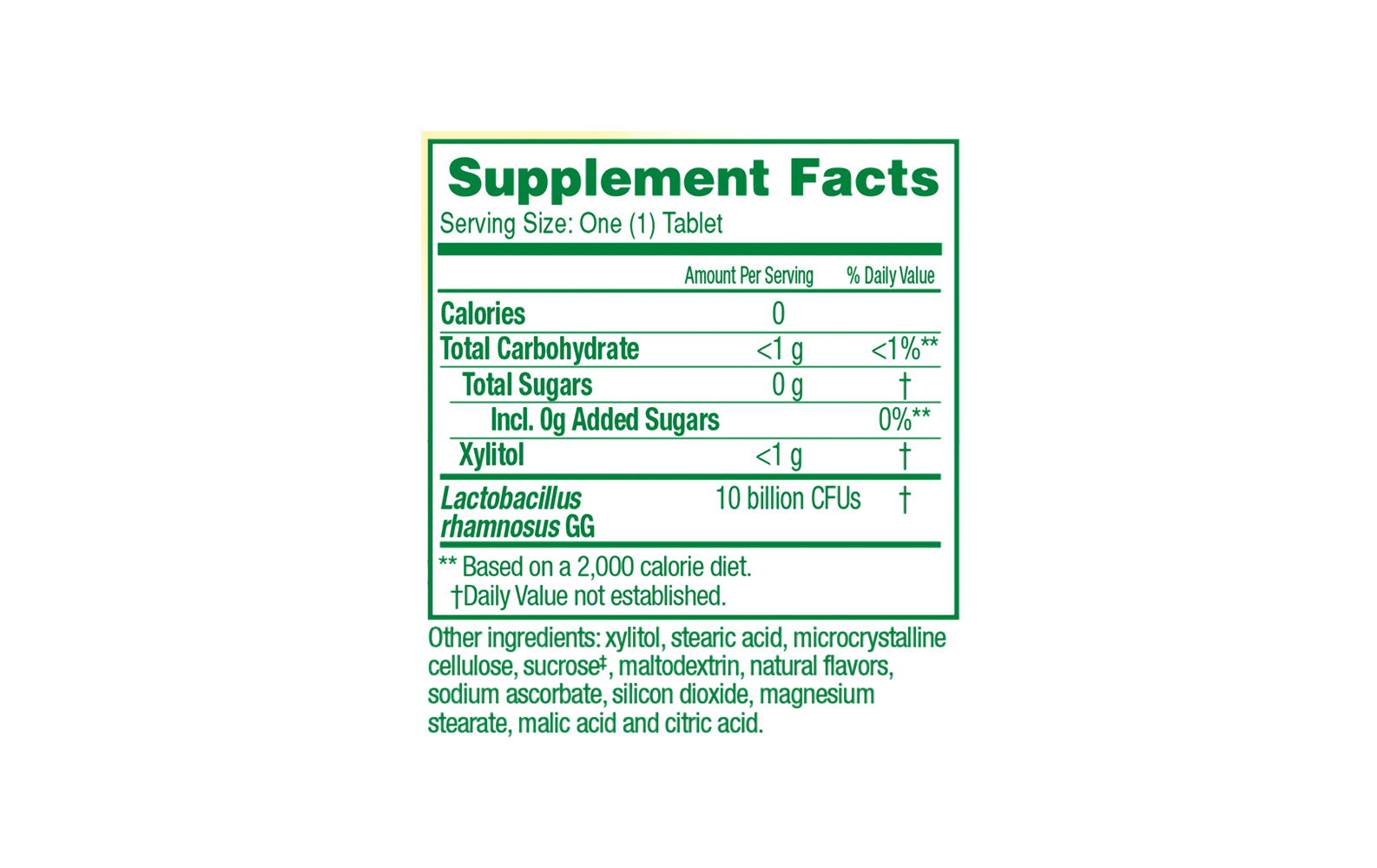 Supplement Facts for Orange Chewables