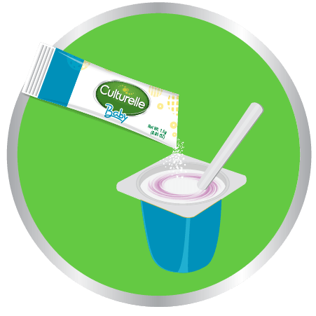 Green circle and blue yogurt icon