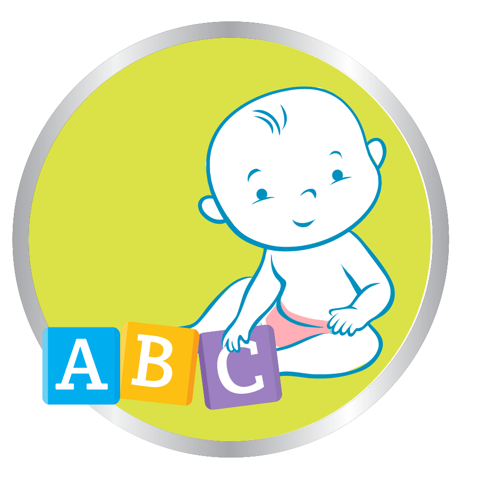 baby playing abc blocks icon
