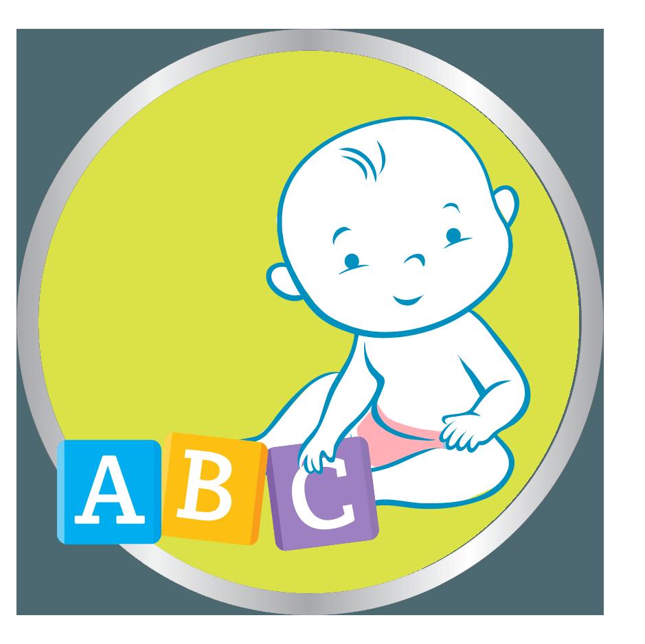 baby playing abc blocks icon