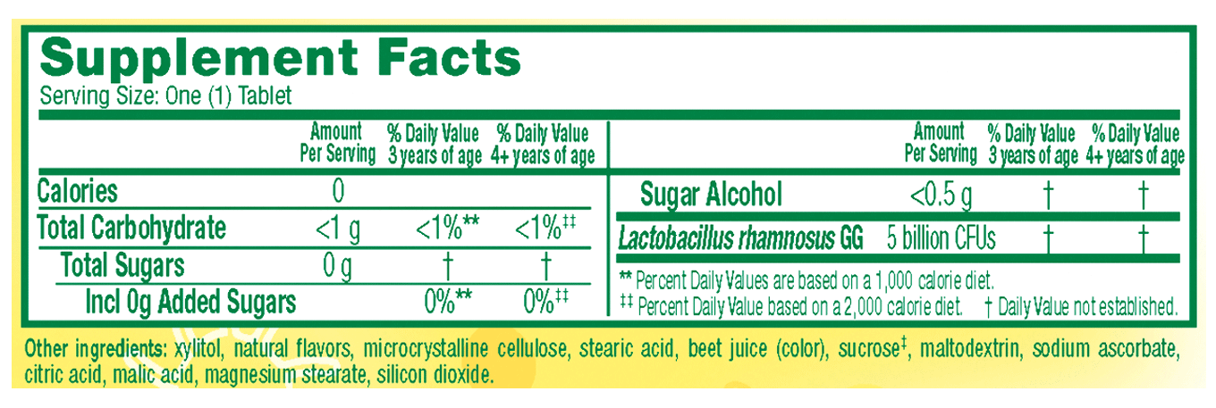 Supplemental Facts for Culturelle® Probiotics Kids Chewables Box