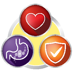 Purple Stomach, Red Heart, and Orange Check Icon
