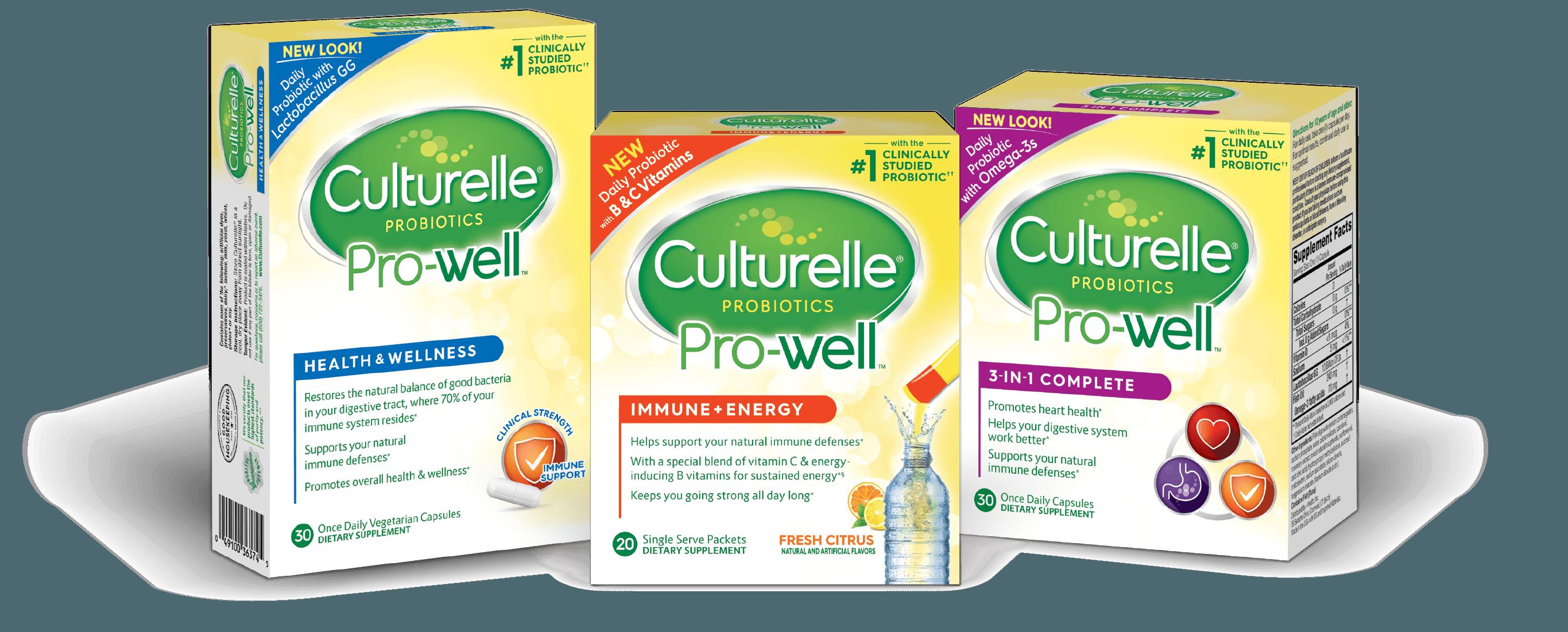 Culturelle® Pro-Well probiotics boxes